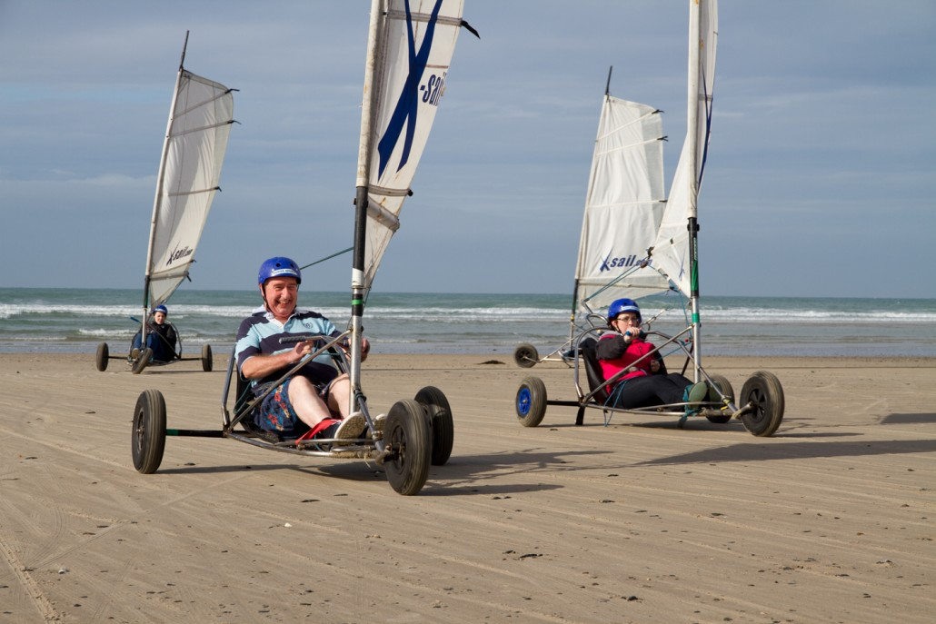 The Condor admin team enjoying some 'blow karting' on the beach in Jersey